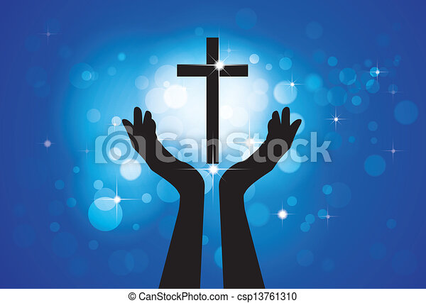Person praying or worshiping to holy cross or Jesus - vector graphic concept of a devout faithful christian worshiping Son of Lord(Christ) with blue background of stars and circles - csp13761310