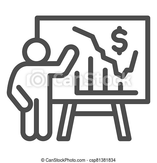 Person presents diagram on signboard line icon, presentation concept, businessman with graphs and dollar symbol on white background, Teacher pointing at board with chart icon outline style. - csp81381834