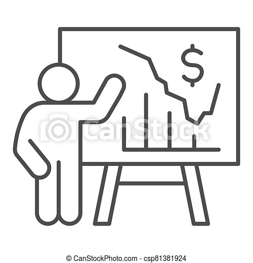 Person presents diagram on signboard thin line icon, presentation concept, businessman with graphs and dollar symbol on white background, Teacher pointing at board with chart icon outline style. - csp81381924