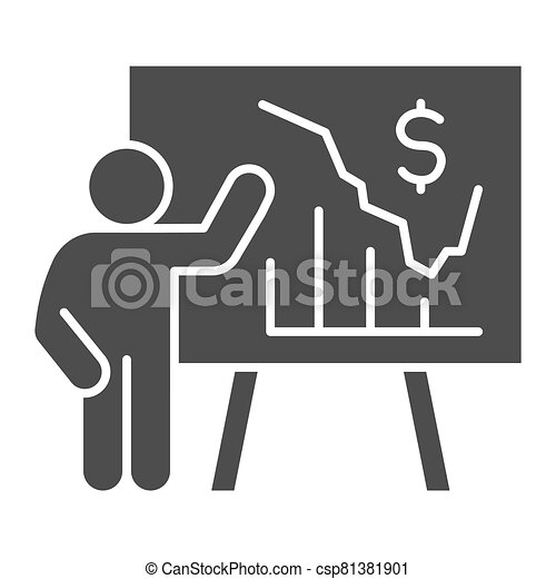 Person presents diagram on signboard solid icon, presentation concept, businessman with graphs and dollar symbol on white background, Teacher pointing at board with chart icon glyph style. - csp81381901