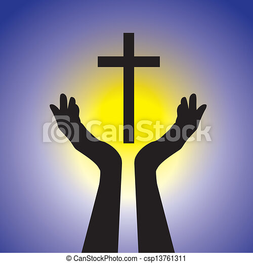 Person showing faith in lord by holding holy cross- vector graphic. This illustration is a concept of a devout faithful christian worshiping Jesus Christ with blue background and yellow sun - csp13761311