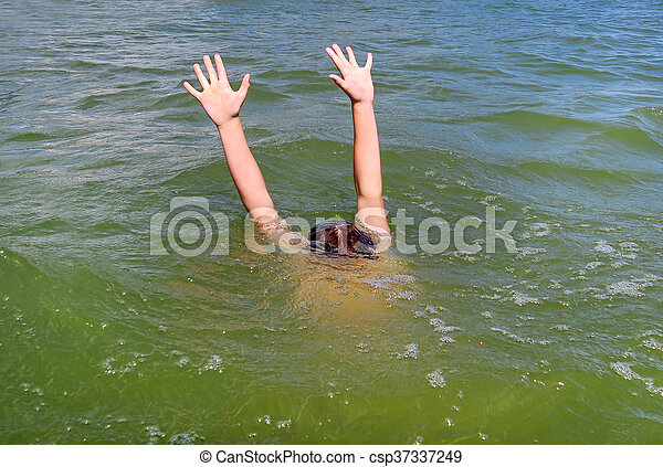 Person sinking in the Sea - csp37337249