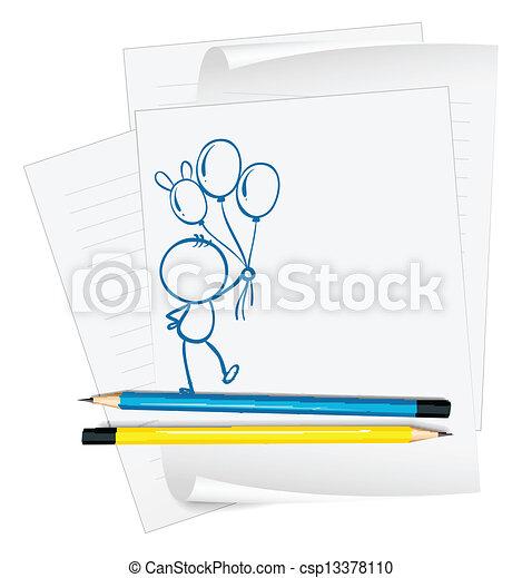 person, skitse, avis, balloner, holde - csp13378110