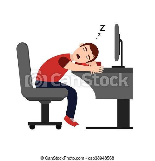 flat design person sleeping on desk icon vector illustration clip rh canstockphoto com Sleeping Person Drawing Sleeping Zzz Clip Art