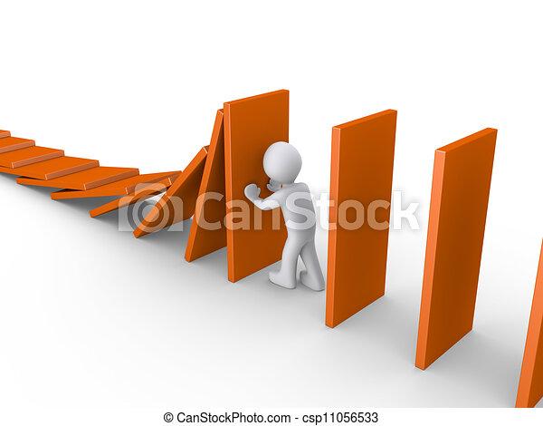 Person stops domino effect - csp11056533