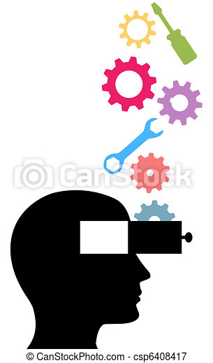 Person think technology tools invention idea gears - csp6408417