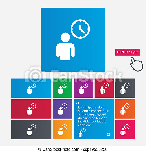 Person waiting sign icon time symbol queue metro style buttons time symbol csp19555250 ccuart Images