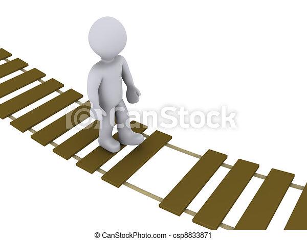 Person walking on damaged bridge - csp8833871
