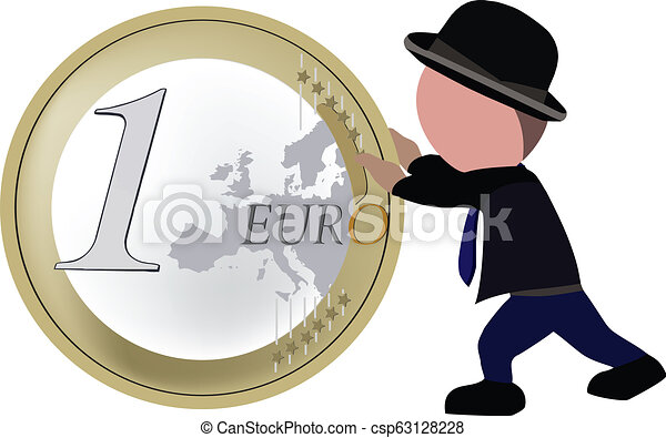 person walking pushes one euro coin - csp63128228