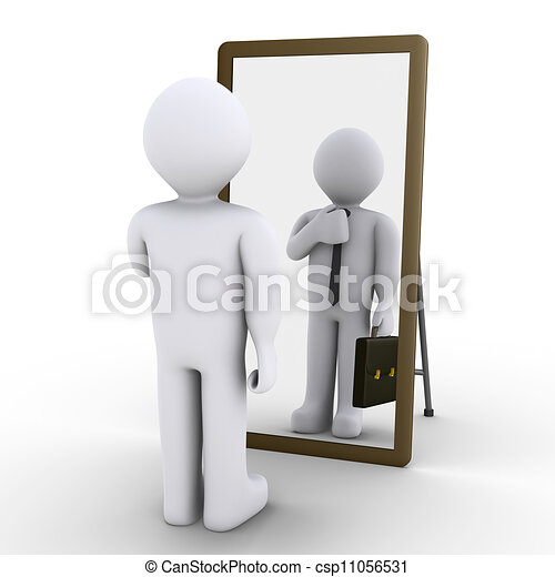 person looking in mirror clipart. person wishes employment - 3d looking at mirror and. in clipart