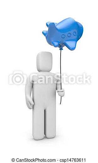 person with balloon in a form of plane travel metaphor isolated on