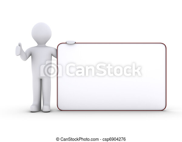 Person with blank board - csp6904276