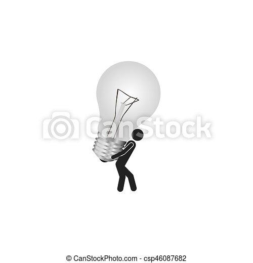 Person With Bulb Idea Icon