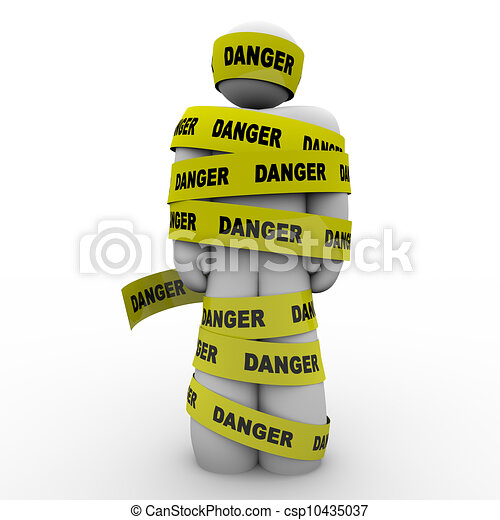 Person Wrapped in Yellow Danger Tape Warning Caution - csp10435037