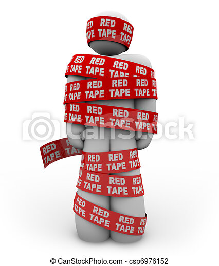 Person Wrapped Up in Red Tape of Bureaucracy Rules of Order - csp6976152