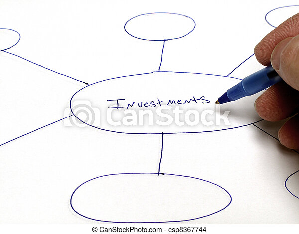 Person writing a graph or plan for future investments finances - csp8367744