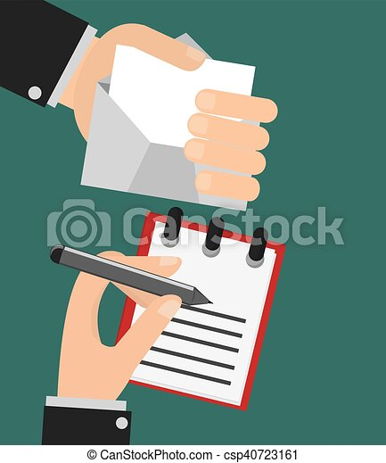 Person Writing Letter And Hand Holding Envelope Image Vector
