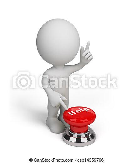 Tres personas con un botón de ayuda - csp14359766
