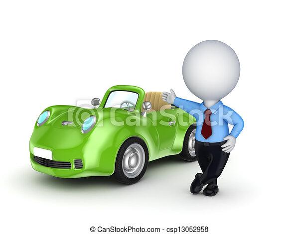 persona, automobile., vendita, 3d, piccolo - csp13052958