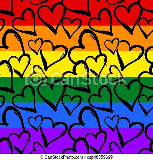 Orgullo gay arcoiris corazones de colores sin marcas. - csp48359699