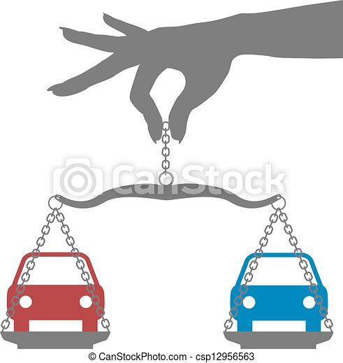 La persona compra autos de decisión - csp12956563