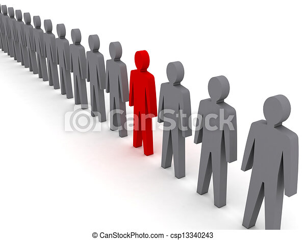 Persona inusual en fila. - csp13340243