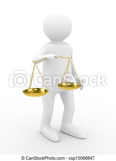 Persona con escalas en fondo blanco. Imagen 3D aislada - csp10068847