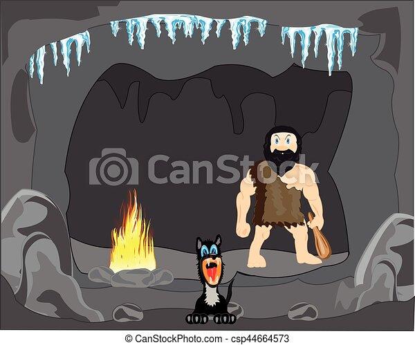 Persona primitiva en la cueva - csp44664573