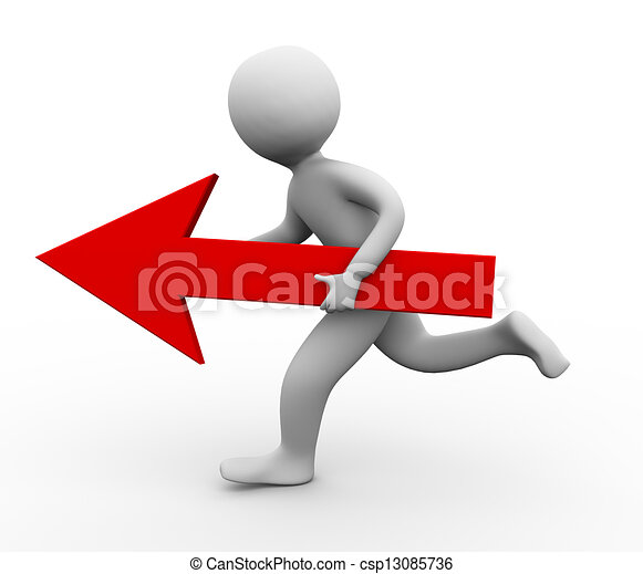 Persona 3D corriendo con flecha - csp13085736