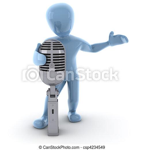 personagem, 3d, cantando, imagem - csp4234549
