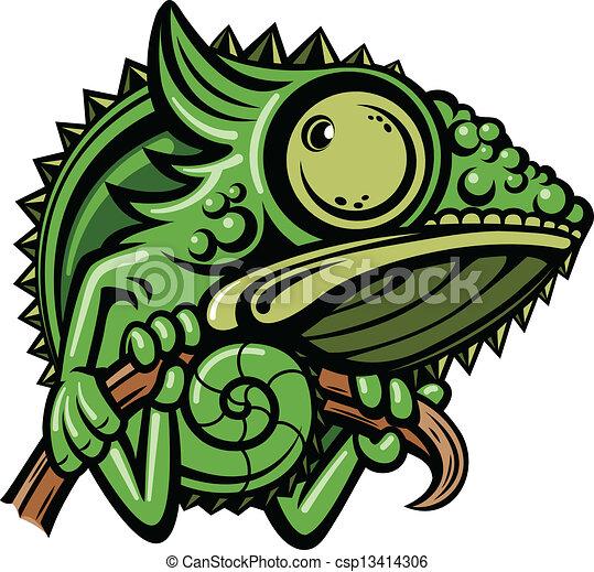 personagem, caricatura, camaleão - csp13414306