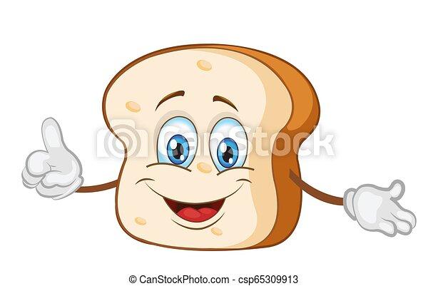 personagem, ilustração, cute, vetorial, fatia, pão - csp65309913