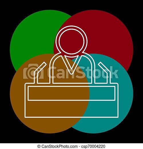 personagem, orador, presidente, fala, público, ícone - csp70004220