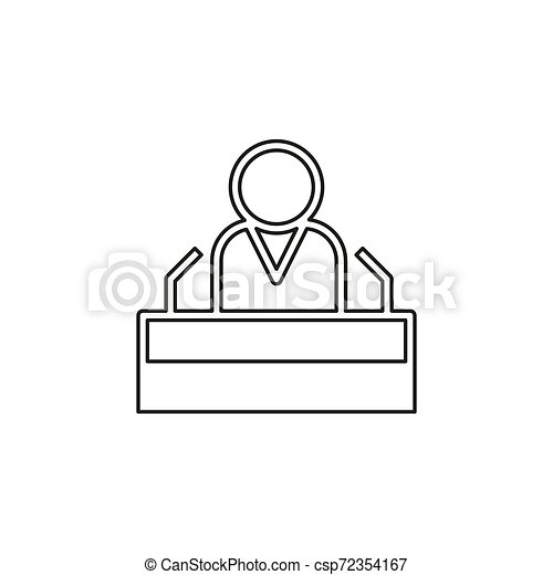 personagem, orador, presidente, fala, público, ícone - csp72354167