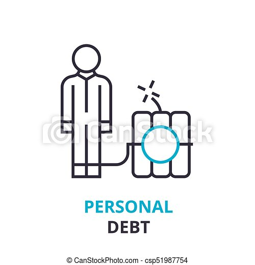 Personal debt concept outline icon linear sign thin line personal debt concept outline icon linear sign thin line pictogram logo ccuart Images