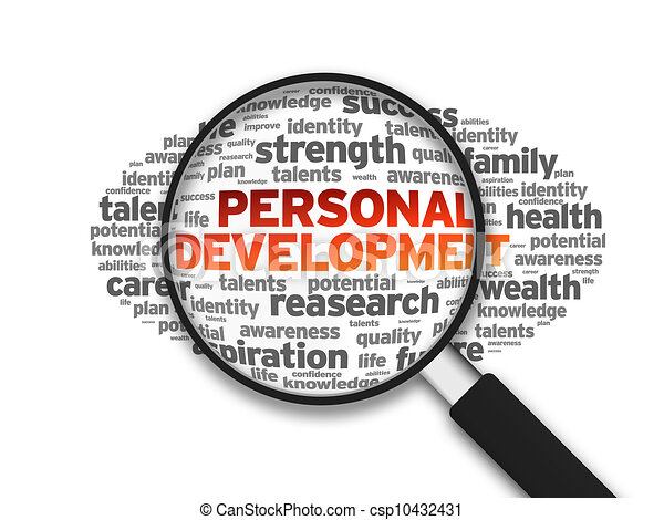 Magnified illustration with the word personal development ...