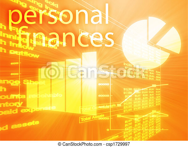 personal finances illustration of spreadsheet and business charts