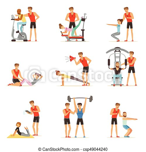 Personal gym coach trainer or instructor set, people exercising under control of personal trainer of vector Illustrations - csp49044240