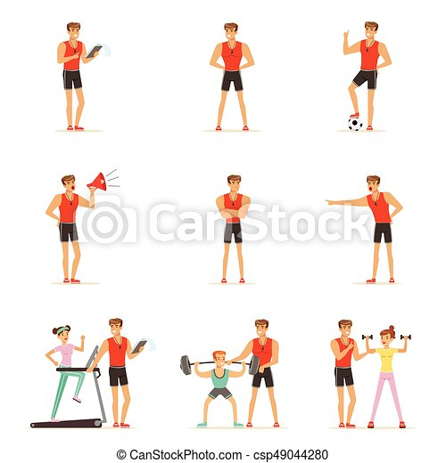 Personal gym coach trainer or instructor set of vector Illustrations - csp49044280