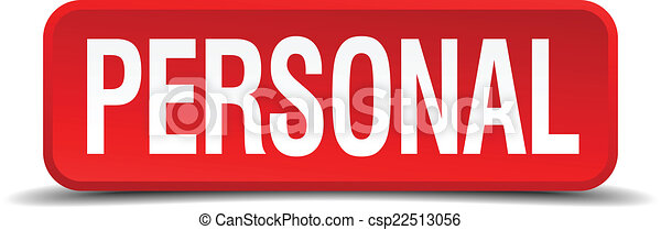 Personal red 3d square button isolated on white - csp22513056