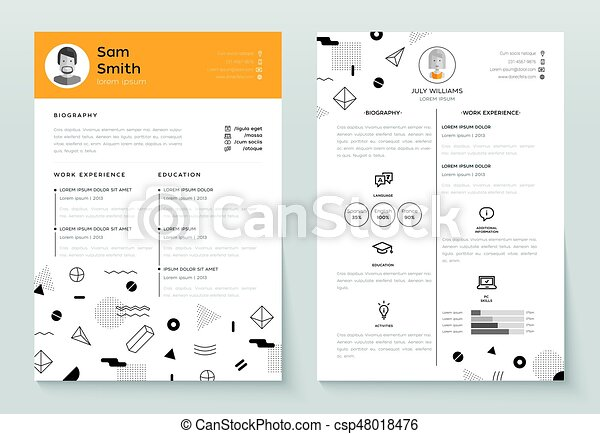 Personal Resume Vector Template Illustration With Abstract