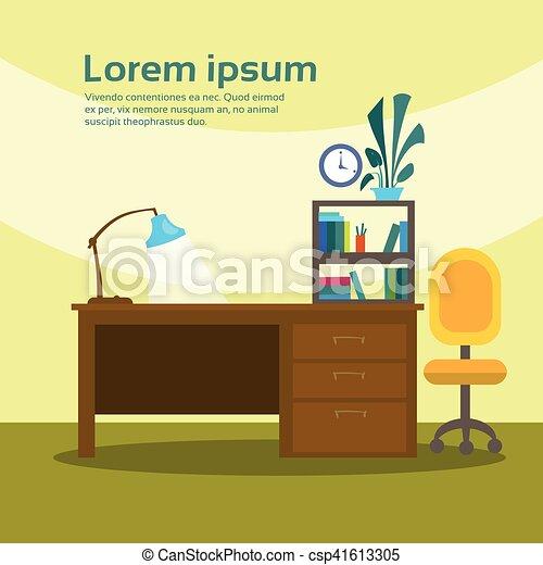 Un escritorio vacío, oficinas de oficinas de trabajo, interiores sin gente - csp41613305