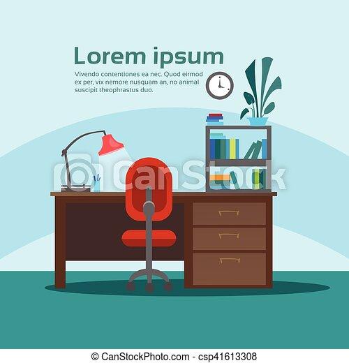 Un escritorio vacío, oficinas de oficinas de trabajo, interiores sin gente - csp41613308