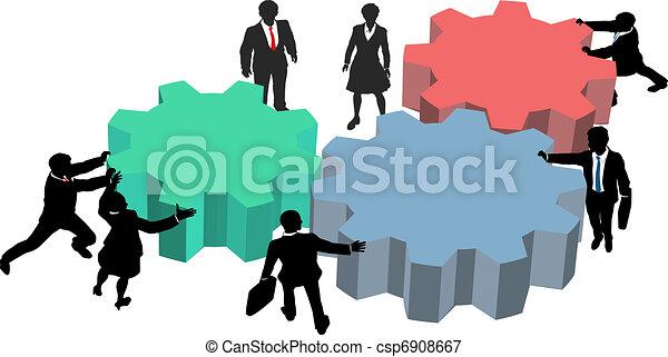 persone affari, lavoro, insieme, piano, tecnologia - csp6908667