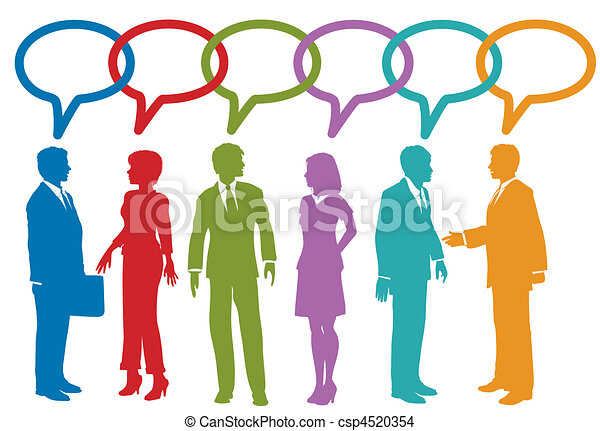 persone affari, media, discorso, sociale, bolla, discorso - csp4520354
