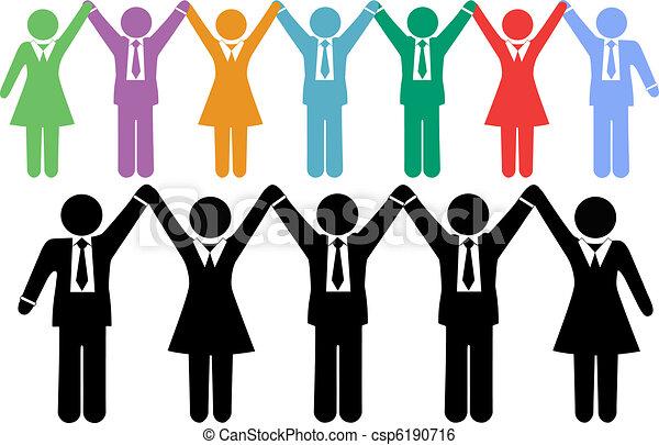 persone affari, simboli, tenere mani, celebrare - csp6190716
