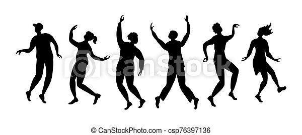 persone, ballo, orizzontale, silhouette, bandiera - csp76397136