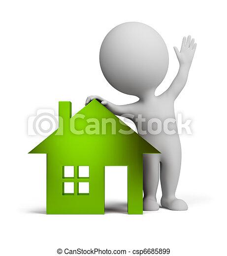 persone, casa, -, vetro, piccolo, 3d - csp6685899