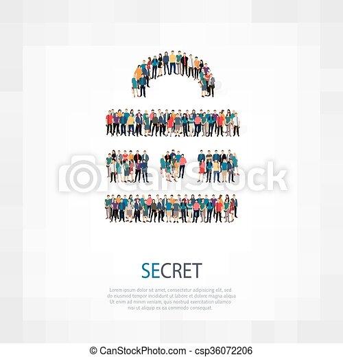 persone, folla, segreto - csp36072206