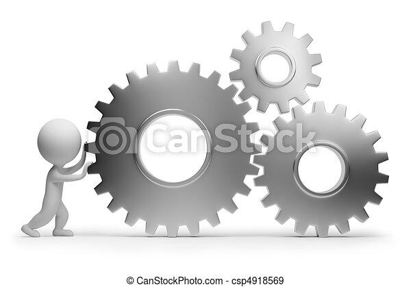 persone, -, ingranaggi, piccolo, in crosta, 3d - csp4918569